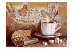 Finest Coffee Beans Poster Print by Theresa Kasun x Coffee Bean Art, Coffee Wall Art, Coffee Beans, Vintage Labels, Vintage Tea, Vintage Cards, Design Floral, Art Design, Alphonse Mucha