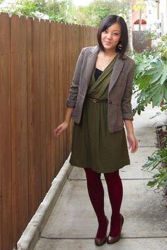 green dress + burgundy + blazer