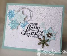 Flurry of Wishes, handmade card, winter, Christmas, punches, snowflakes, embossing folder