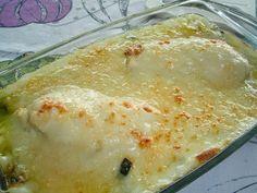 Pechuga de pollo con calabacines gratinada en el horno