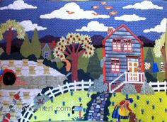 """Stitched by Robin Rich. Canvas from Melissa Shirley Designs """"Blue Farm House"""" MLT-101. Stitch and Thread Guide by Tony Minieri.  ©2016 Anthony Minieri® All Rights Reserved"""