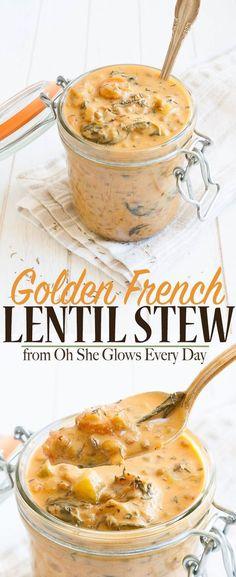 Vegan Lentil Stew | www.veggiesdontbite.com | #vegan #plantbased #glutenfree #ohsheglowseveryday via @veggiesdontbite Vegan Stew, Vegan Lentil Soup, Vegetarian French Recipes, Vegetarian Recipes Lentils, Easy Lentil Recipes, Lentil Chili Recipe, Easy French Recipes, Curried Lentil Soup, Lentil Stew