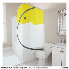 Custom Shower Curtains, Home Decor Items, Powder Room, Grey And White, Keep It Cleaner, Minimalism, Abstract Art, Yellow, Business Cards
