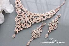 ROSE GOLD Wedding Jewelry Set, Vintage Style Bridal Necklace Set ...