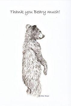 CARD, note card, bear, bear drawings, bear decor, cabin decor, Ellen Strope, castteam, black bears, black bear decor