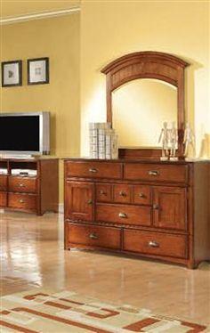 Brandon  Oak Glass Wood Dresser
