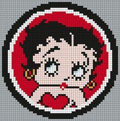 Cross Stitch Charts Betty_Boop_(square) by Maninthebook on Kandi Patterns Kandi Patterns, Perler Patterns, Beading Patterns, Embroidery Patterns, Betty Boop, Pixel Crochet, Crochet Chart, Perler Bead Art, Perler Beads
