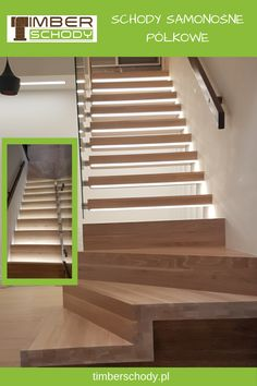 Schody półkowe dają efekt stopni zawieszonych w powietrzu. Na zdjęciu schody wykonane z jesionu bielonego ze szklanymi balustradami i oświetleniem LED. #SCHODYSAMONOSNE#SCHODYDREWNIANE#SZKLANABALUSTRADA#WNETRZE#DOM#SCHODY Dom, Stairs, Home Decor, Stairway, Decoration Home, Room Decor, Staircases, Home Interior Design, Ladders