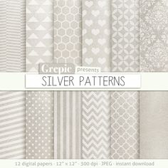 Silver digital paper SILVER PATTERNS high res silver by Grepic  https://www.etsy.com/listing/152103918/silver-digital-paper-silver-patterns?ref=shop_home_active_9