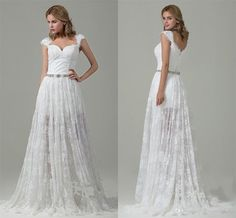 Covered Bottons Elegant Wedding Cheap Fashion Modest Sweetheart Capped Sleeve Lace Pearls Sash Iullsion Sheer Skirt Sweep Train Garden Tool Wedding Dresses Vintage Inspired Wedding Dresses Lace From Lovemydress, $126.22| Dhgate.Com