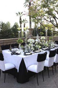Black and white reception table decor