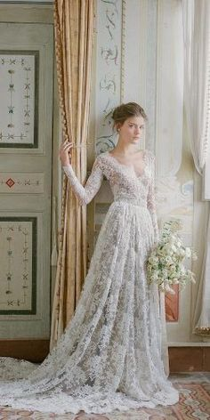 lace sleeve vintage bridal gowns 2