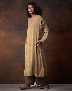 Good Earth brings you luxury design crafted by hand, inspired by nature and enchanted by history, celebrating India's rich history and culture through original, handcrafted products. Salwar Designs, Blouse Designs, Indian Dresses, Indian Outfits, Ethinic Wear, Modest Outfits, Chill Outfits, Modest Clothing, Party Suits