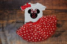Our Minnie Mouse TWO toddler girl outfit is the perfect outfit for the birthday princess in your life. Pair it with our red polka dot minnie mouse tutu and headband set for a complete outfit. If youd like a name added, please add it to the note to seller section at check-out. We