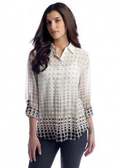 New Directions  Dot Print Woven Blouse