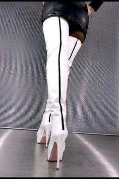 Bildergebnis für white leather boots