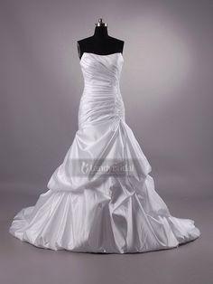 ウェディングドレス マーメイド ピックアップ ハートネック チャペルトレーン ホワイト タフタ H8lbhs1754 価格 ¥57,240
