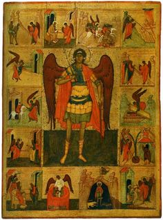 Znalezione obrazy dla zapytania scenes from life of archangel michael 1300 Church Icon, Russian Culture, Russian Icons, Byzantine Art, Black Angels, Saint Michel, Archangel Michael, Religious Icons, Orthodox Icons