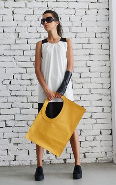 Genuine leather maxi yellow bag  The summer is here and I am happy to present you this sunny yellow leather tote bag! It is a great accessory and it