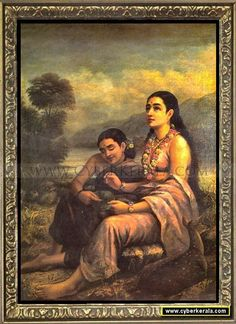 Sakunthala writing letter to Dushyantan after she fall in love with him. Oil painting on canvas by Raja Ravi Varma - Kowdiar Palace, Thiruvananthapuram, Kerala.