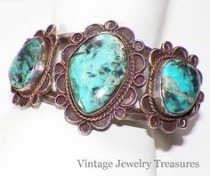 Vintage Native American Sterling Blue Turquoise Cuff Bracelet 48 Grams 99 cent auction