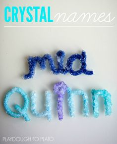 Activity for ages 3 and up. This easy-peasy, low cost science experiment uses borax to grow crystal names. Whether your child is 3 or they're sure to get excited about seeing their name shimmer and sparkle in the sunlight. Crystal names are one of ou Kid Science, Science Kits, Science Fair, Earth Science, Summer Science, Science Classroom, Science Education, Science Centers, Science Week