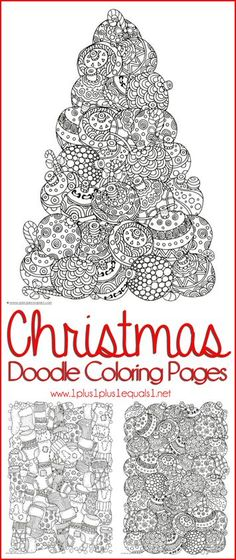 Christmas Doodle Coloring Pages for Adults or Kids!  {FREE}