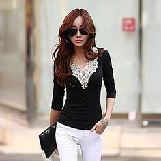 Women's Slim Long Sleeve Lace T-Shirt - EUR € 5.99