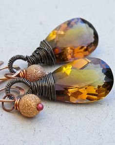 Earrings - sterling silver, oxidised, ametrine, rose gold, copper, luxe gemstone - Jaggery