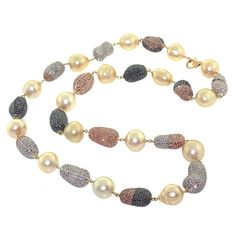 Pearl Bead Necklace17.66ct Diamond 18k Gold 925 Sterling Silver Fashion Jewelry #Handmade #Necklace