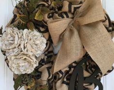 Burlap Wreath Everyday wreath burlap by KarensCustomWreaths