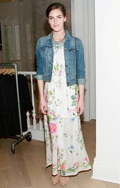 Style a fitted jean jacket over a floral frock, and accessorize with a statement necklace and nude heels or sandals.