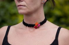 Crochet choker with roses black choker Frida style by ChainAndHook Jewelry For Her, Unique Jewelry, Black Choker, Jewelry Accessories, Chokers, Trending Outfits, Crochet, Handmade Gifts, Roses