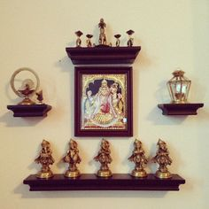 Living room Pooja Room Design, Pooja Rooms, Traditional Decor, Home N Decor, Indian Interior Design, Brass Decor, Home Decor, Indian Home Interior, Indian Interiors