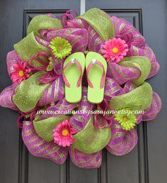 Items similar to Summer Flip Flop Wreath - Mesh Summer Wreath - Summer Wreath - Spring Wreath - Pink and Green on Etsy Wreath Crafts, Diy Wreath, Diy Crafts, Wreath Ideas, Wreath Making, Flip Flop Craft, Flip Flop Wreaths, Welcome Wreath, Summer Wreath