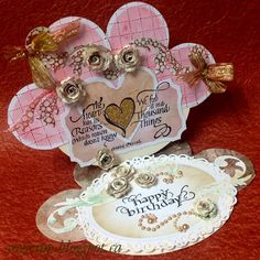 Easel card, hand made roses from Gelli print papers, die cuts, ribbon, Quietfire Design newest rubber stamp and a birthday sentiment stamp. - http://yogiemp.blogspot.ca/2015/01/mc-jan15-easel-heart-roses-heart-hb.html