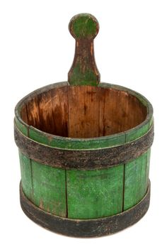"Willis Henry 4/16/16 Lot 114A.  Estimate: $1,000 - $1,500. Realized: $2,700.   Description: RARE 19TH C. HINGHAM PIGGIN Original green paint, with original blue bands oxidized and blackened, stamped on the bottom ""C.S."" (Caleb S. Hersey, Hingham, MA), c. 1820-1860, in pencil on bottom ""PIGGIN Used in SNOWDEN by Aunt Clara Snow - Lucinda age 16 Presented by Mrs. Eleazer Brazer born in Snowden"", see Bucket Town: Woodenware and Wooden Toys of Hingham, Massachusetts, 1635-1945 by Derin Bray, p…"