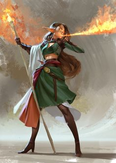 Even Amundsen digital painting Character design elf and Flame