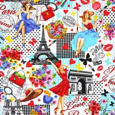 April in Paris Pin-ups White by Timeless Treasures Fabrics, @sewtimeless. 100% cotton fabric. Paris and fashion! Stylish women with the Eiffel Tower.