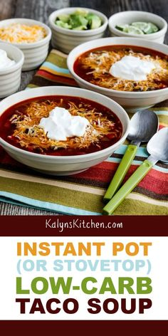This instant pot (or stovetop) low-carb taco soup is a delicious low-carb soup the whole family will enjoy, and it's quick and easy in the instant pot ! Keto Crockpot Recipes, Low Carb Recipes, Soup Recipes, Cooking Recipes, Chili Recipes, Free Recipes, Low Carb Taco Soup, Low Carb Tacos, Low Carb