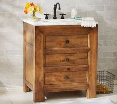 Stella Single Sink Console #potterybarn (like the warmth of the honey colored drawers)