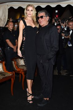 Cannes Fashion - Red Carpet Dresses at Cannes 2014 - Harper's BAZAAR - Roberto Cavalli's Yacht Party - Rosie Huntington-Whiteley pictured with Roberto Cavalli at his party.