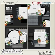 Yes, No, Maybe? - 12x12 Templates (CU Ok) by Connie Prince. Includes 4 12x12 templates, saved as layered PSD & TIF files as well as individual PNG files. Also, includes layered .page files for use with SBC+3, SBC 4 & Panstoria Artisan software. Scrap for hire / others ok. Commercial Use Ok, NO credit required.