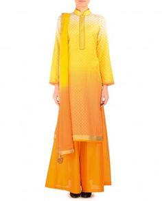 Sunshine Yellow and Orange Printed Palazzo Suit - $182