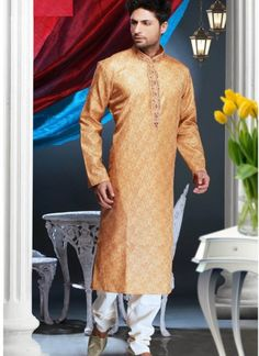 Light #Orange Polyester #Jacquard #Kurta With #Churidar. #Gettable online just for INR 2576/-
