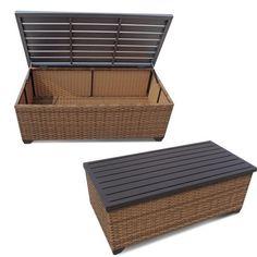 tkc laguna outdoor wicker storage coffee table in caramel - tkc025b-strec