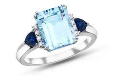 4 3/8 Carat Sky Blue Topaz, Sapphire & Diamond 14K White Gold Ring