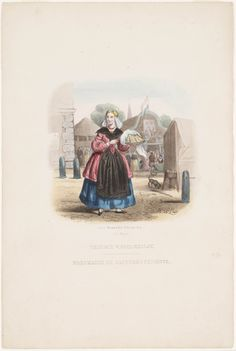 Vriesch wafelmeisje / Marchande de gaufres de frissone 1850 kunstenaar: Last, Hendrik Wilhelmus uitgever: Lier, D. van #Friesland