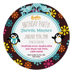 A circle invitation with a cute and colorful winter penguins design features penguins, snowflakes, ice skates, mittens, scarves, and lots of bright colors including aqua, pink, yellow, and orange with areas you can customize with all of your birthday party specifics! #birthdays #circle #bright #kids #customized #animals #winter #snowflakes #penguins #skating #birthday #party #circular #cheery #personalized #ice #skating