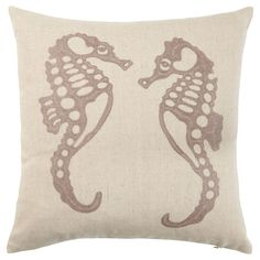 SeaHorse Embroidered Linen Cushion
